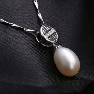 【米蘭精品】項鍊珍珠吊墜流行銀飾品(精選時尚精美鑲鑽生日情人節禮物73w28)