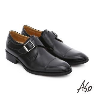 【A.S.O】輕旅健步 小牛皮魔鬼氈奈米紳士皮鞋(黑)
