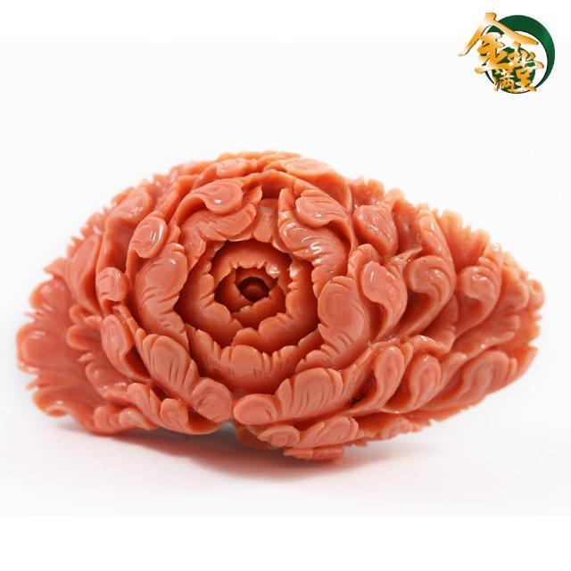 【金玉滿堂】花開富貴天然MOMO紅珊瑚雕件