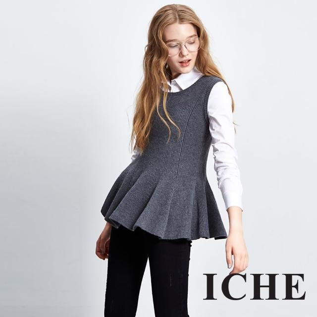 【ICHE 衣哲】假兩件拼接襯衫傘擺針織長袖造型上衣