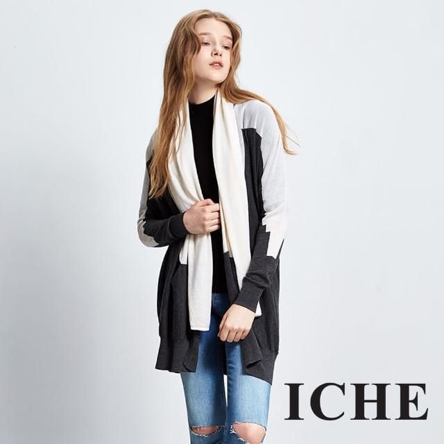 【ICHE 衣哲】羊毛領巾撞色拼接針織長版外套