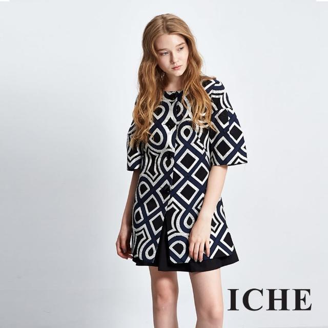 【ICHE 衣哲】幾何提花五分寬袖外套