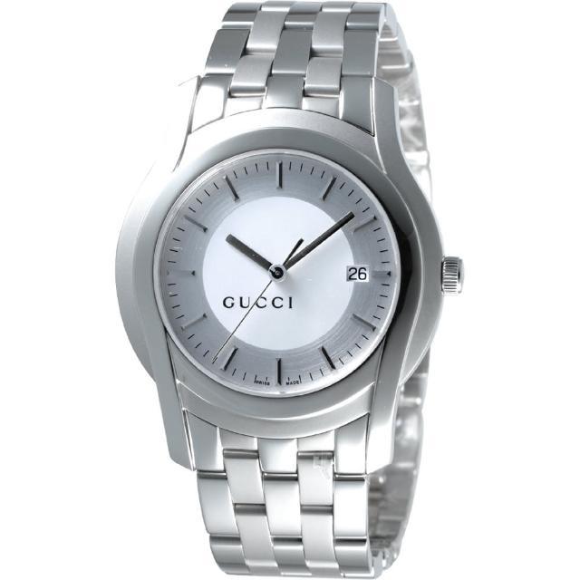 【GUCCI】G-Class 都會經典時尚腕錶-銀白/38mm(YA055212)