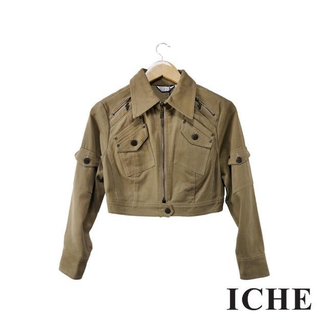 【ICHE 衣哲】卡其短版口袋造型襯衫外套