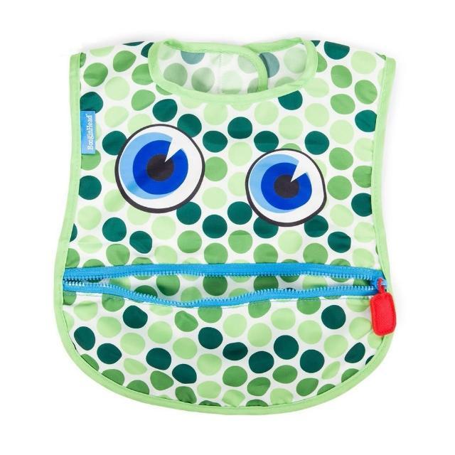 【美國 BooginHead】防水可接食物拉鍊圍兜 - 綠藍點點怪獸 BCBBHOPPE(快速到貨)
