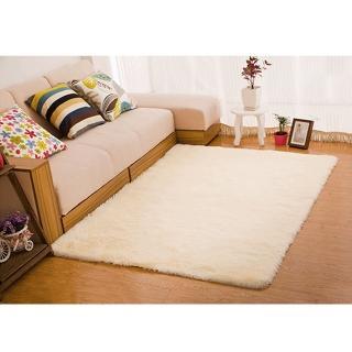 【幸福揚邑】舒壓長毛羊絲絨超軟防滑吸水地墊地毯-米黃(140x200cm)