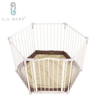 【L.A. Baby 加州貝比】遊戲圍欄/護欄 兒童圍欄/護欄 安全圍欄/護欄 寵物圍欄護欄(贈遊戲墊咖啡色)