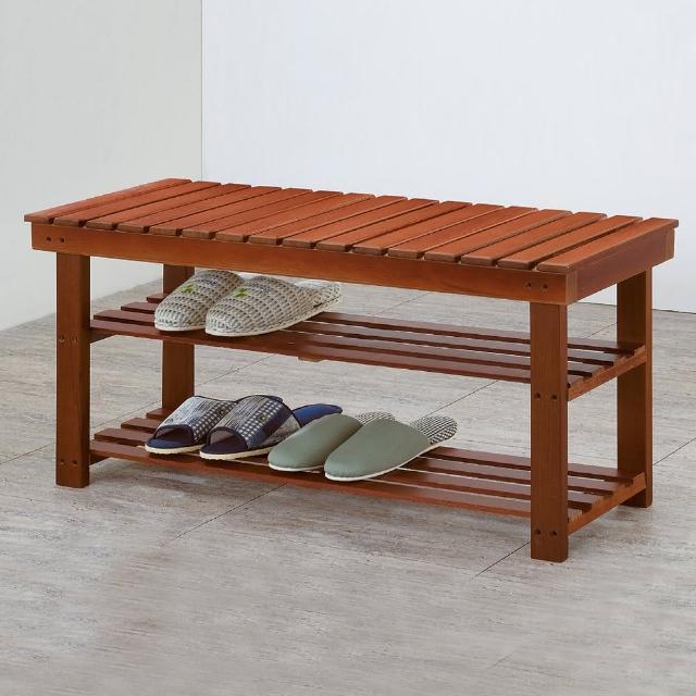 【Bernice】德溫2.6尺實木二層鞋架/穿鞋椅