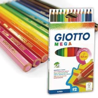 【義大利GIOTTO】MEGA 六角胖彩色鉛筆(12色)
