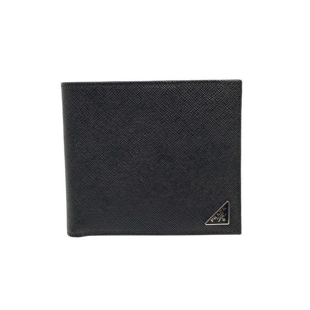 【PRADA】2M0513 黑 小三角牌(經典Saffiano 防刮牛皮 8卡對折男短夾)