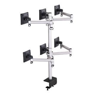 【FOGIM】夾桌懸臂式液晶螢幕支架-六螢幕 終身保固(TKLA-6036C1-S)