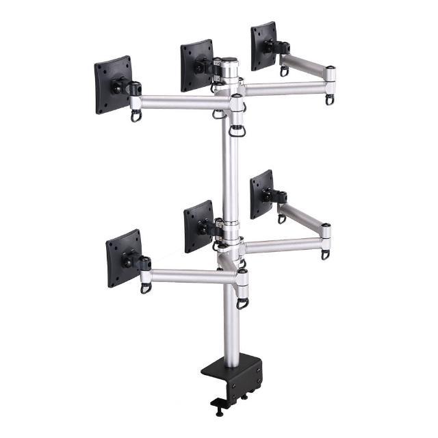 【FOGIM】夹桌悬臂式液晶萤幕支架-六萤幕 终身保固(TKLA-6036C1-S)