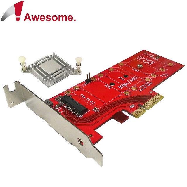 【Awesome】M.2 NVMe高功率SSD轉PCIe 3.0x4轉接卡(AWD-DT-129A)