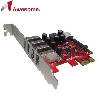 【Awesome】PCIe 4埠USB3.0擴充卡(AWD-UB-120LN)