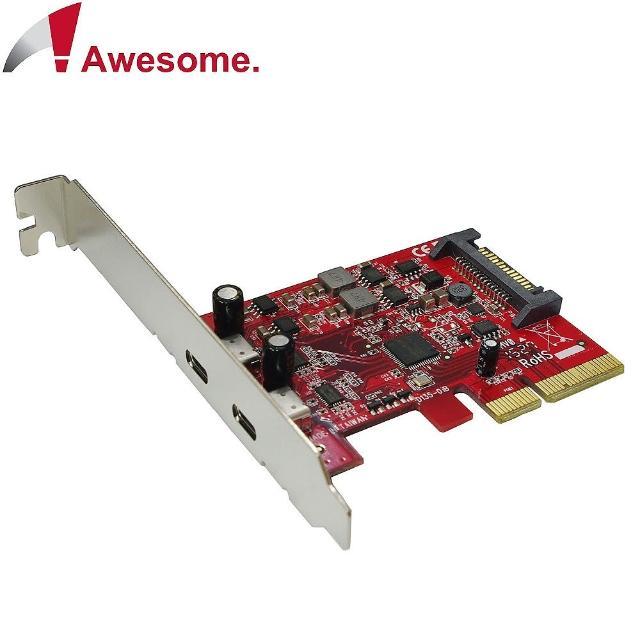 【Awesome】PCIe x4 2埠TypeC USB 3.1 10Gbps擴充卡(AWD-UB-135)
