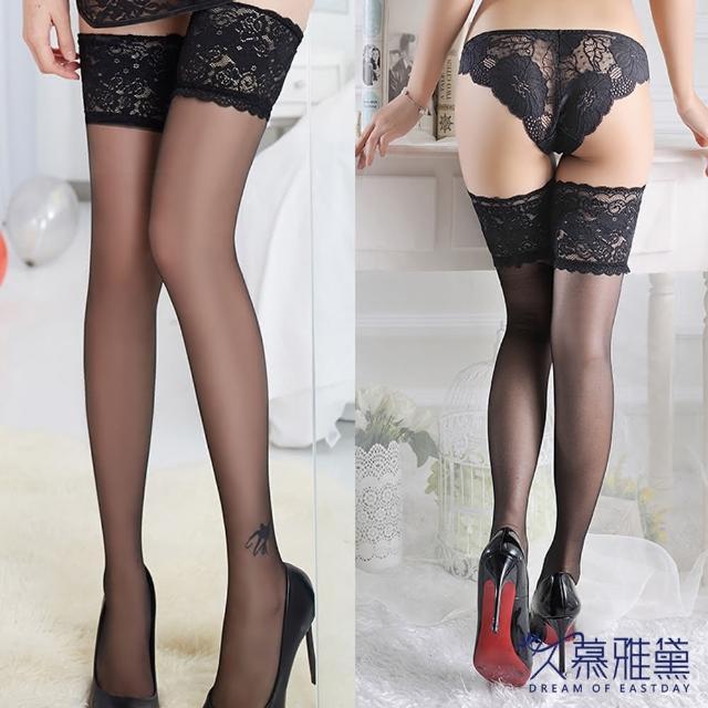 【久慕雅黛】性感蕾絲透明超薄大腿絲襪(黑色)