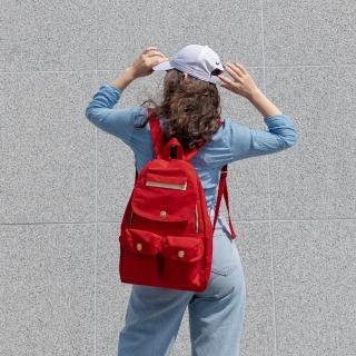 【satana】多功能拉鍊後背包(紅色)