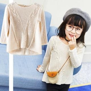 【小衣衫童裝】美型綴蕾絲長袖米色麻花針織毛衣(1051004)