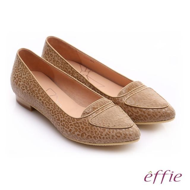 【effie】繽紛舒適 真皮動物紋尖楦低跟鞋(卡其)