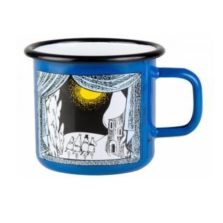 【芬蘭Muurla】嚕嚕米系列-嚕嚕米峽谷的冬天琺瑯馬克杯370cc-藍色 咖啡杯 琺瑯杯