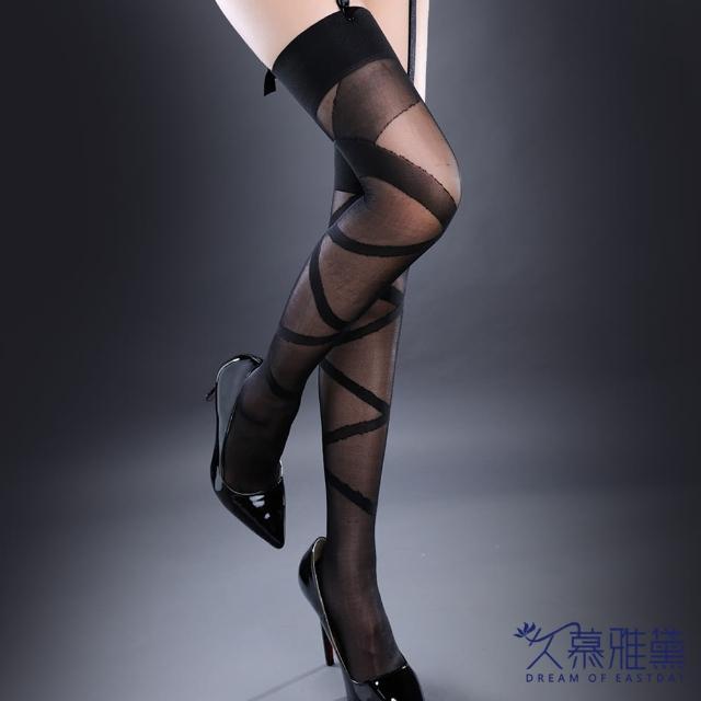 【久慕雅黛】超薄透明綁帶花紋長筒大腿襪