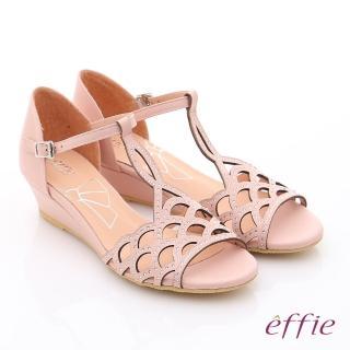 【effie】個性涼夏 真皮水鑽鏤空T字楔型涼鞋(粉紅)