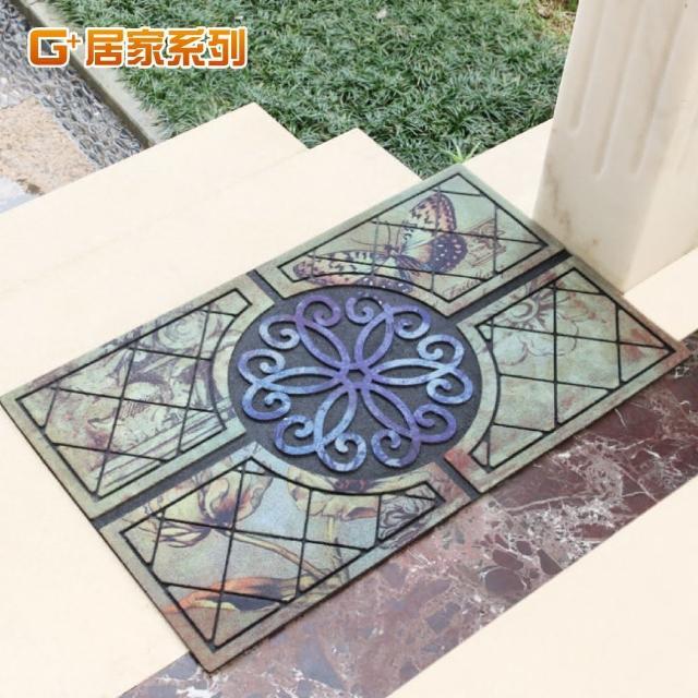【G+居家】古典雕花橡膠植絨迎賓戶外地墊(巴洛克)