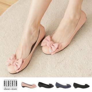 【Alberta】熱賣嚴選 素面蝴蝶結金屬飾品 小坡跟圓頭包鞋 娃娃鞋(粉)