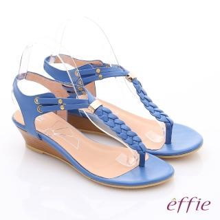 【effie】個性涼夏 Y字麻花鬆緊帶小坡跟涼鞋(藍)
