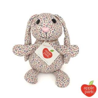【美國 Apple Park】野餐好朋友系列 有機棉印花玩偶禮盒(長耳兔-粉紫花園)
