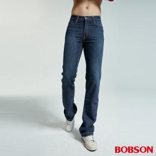【BOBSON】男款低腰小喇叭褲(藍1721-53)
