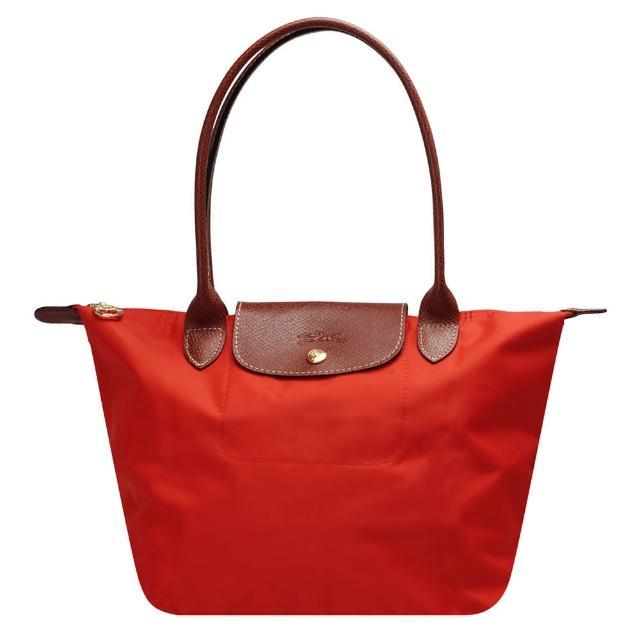 【LONGCHAMP】經典 Le Pliage系列摺疊長提把水餃手提包(小-磚紅色2605089-A29)