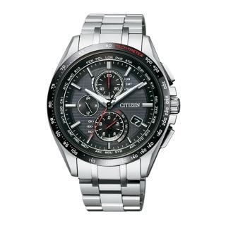 【CITIZEN 星辰】限量款領袖風範電波鈦金屬腕錶-黑/41mm(AT8144-51E)