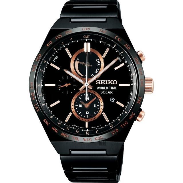 【SEIKO 精工】SOLAR 金星逆行 太陽能不鏽鋼時尚腕錶(41mm/V195-0AE0K/SBPJ039J)