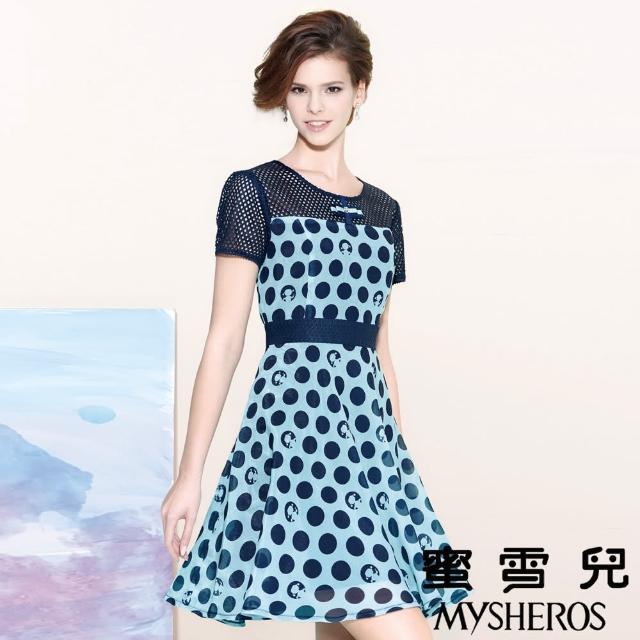 【蜜雪兒mysheros】網格拚接復古圓點修身洋裝(藍)
