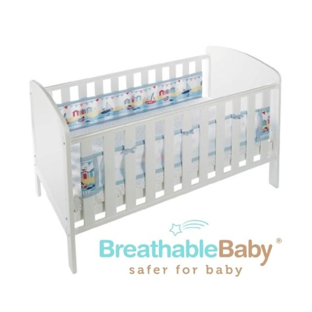【英國 BreathableBaby】透氣嬰兒床圍 兩側型(19431海洋帆船款)