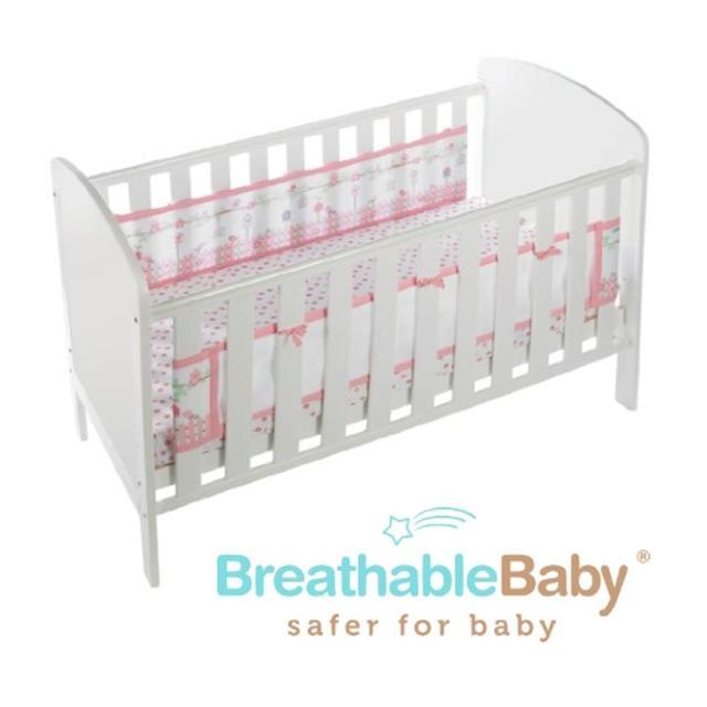 【英國 BreathableBaby】透氣嬰兒床圍 兩側型(19430森林花園款)