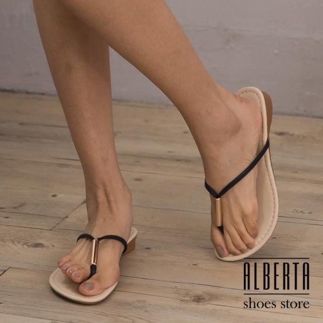 【Alberta】MIT台湾制 简约时尚金属 夹脚拖鞋(黑)