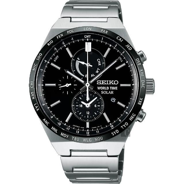 【SEIKO】精工 SPIRIT 太陽能兩地時間計時腕錶-黑/41mm(V195-0AE0D SBPJ025J)