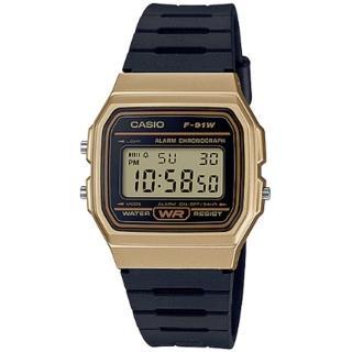 【CASIO 卡西歐】數位顯示運動腕錶-黑x金(F-91WM-9ADF)
