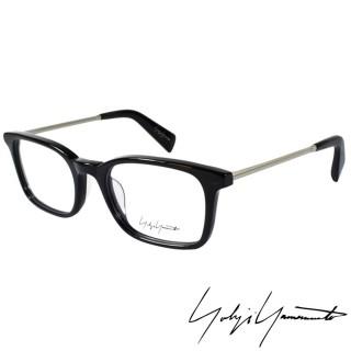 【Yohji Yamamoto 山本耀司】時尚方框金屬混搭造型光學眼鏡(黑 YY1007-019)