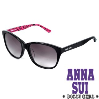【Anna Sui】Dolly Girl系列經典洋娃娃元素造型太陽眼鏡(黑+桃紅 - DG800-002)