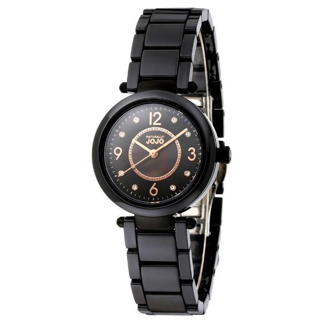 【NATURALLY JOJO】優雅流蘇紋時尚陶瓷腕錶(珍珠母貝 黑/32mm)