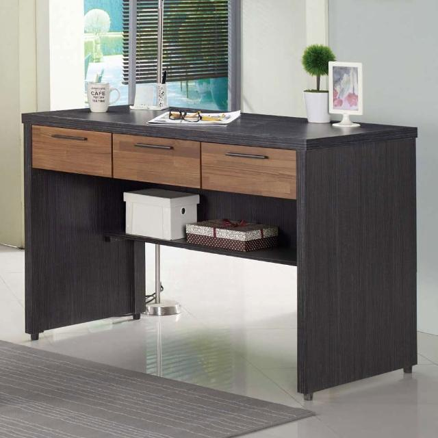 【AT HOME】工業風4尺實木雙色三抽收納書桌/電腦桌/工作桌(120x60x80cm/雷恩)
