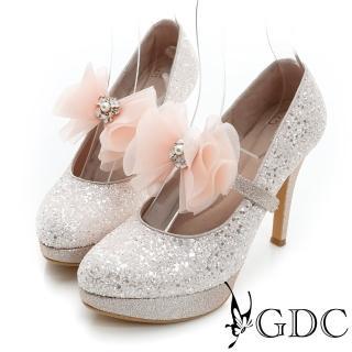 【GDC】幸福婚鞋-繫帶蝴蝶結亮片真皮高跟鞋-粉色(627145)