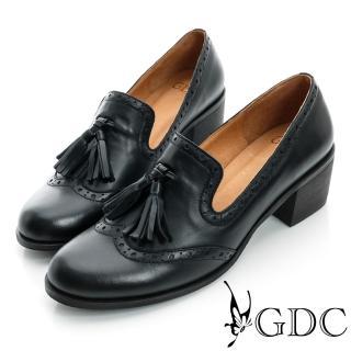 【GDC】復古-牛津樂福紳士真皮中跟鞋-黑色(621761)