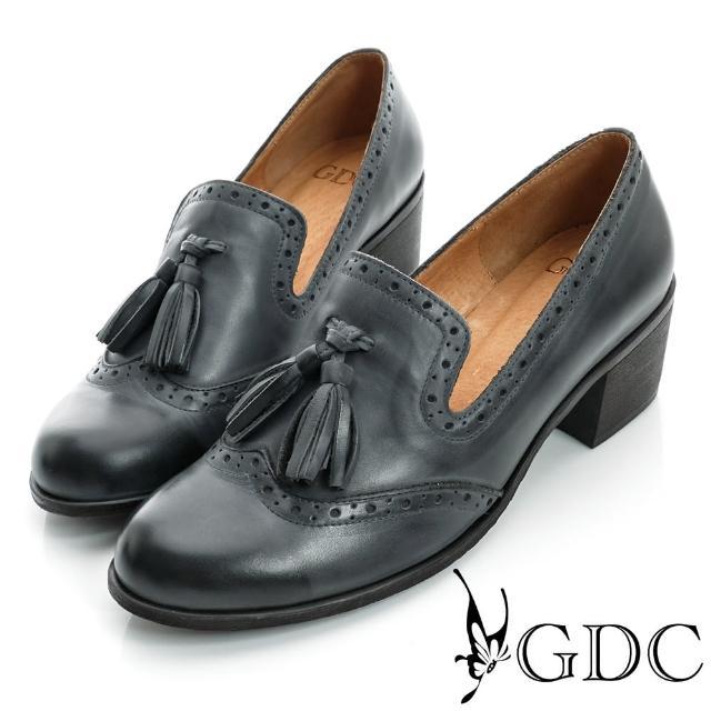【GDC】復古-牛津樂福紳士真皮中跟鞋-藍色(621761)