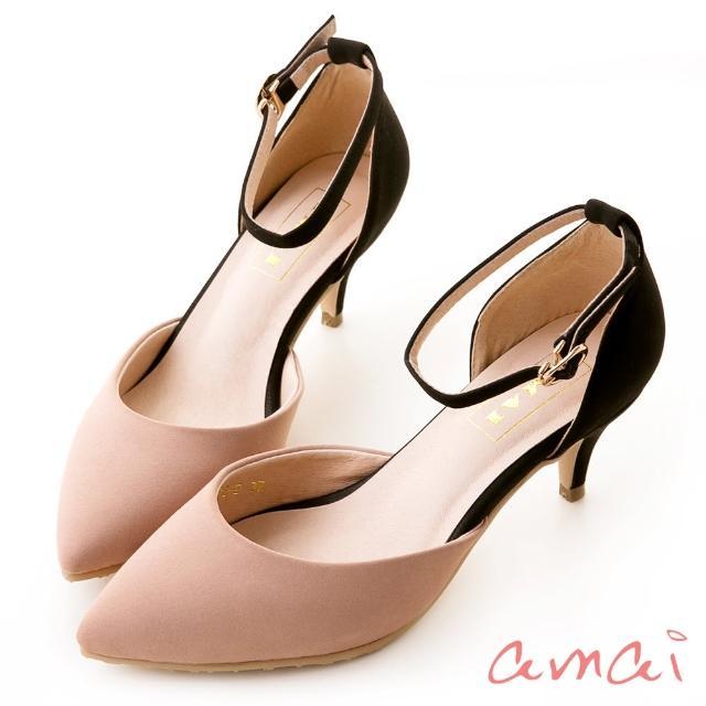 【amai】撞色尖頭側空繫帶低跟鞋(粉)