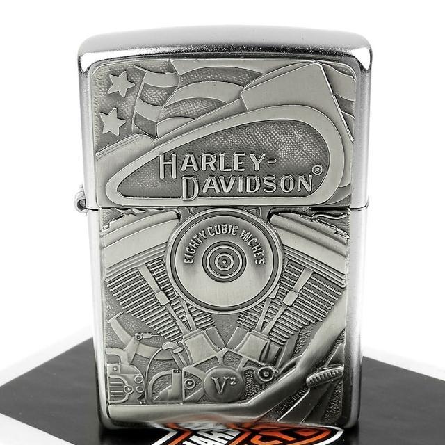 【ZIPPO】美系-Harley-Davidson-哈雷-V2引擎图案贴饰打火机