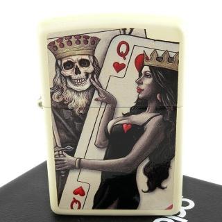 【ZIPPO】美系-Skull King Queen Beauty-撲克骷髏國王與皇后設計